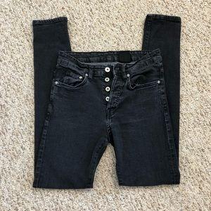 H&M Dark Gray/Black Skinny High-Waisted Jeans